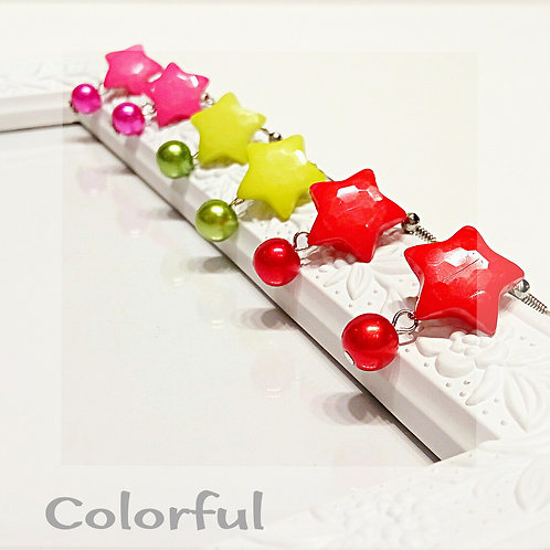 Colorful star faux pearl drop earring
