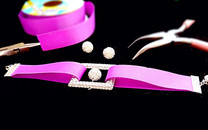 Twinkle CZ square white ball purple ribbons braceletSparkle and trendy on your eye, cozy purple ribb
