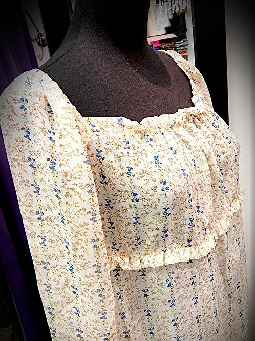 Beige blue flora chiffon blouse
