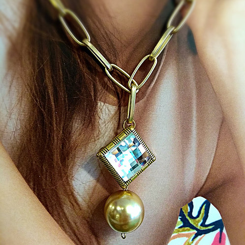 Frosted gold faux pearl plated gold square frosted gold chain necklace