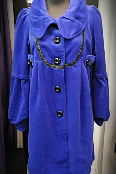 Shinny royal blue single breasted jacket