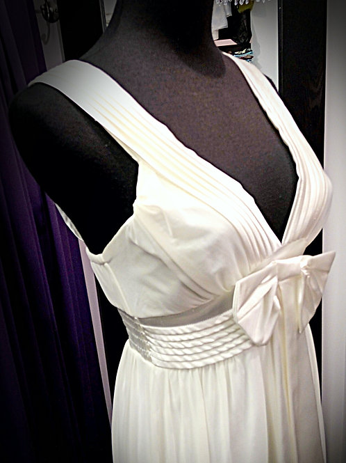 Cream cotton polyester big bow party dress