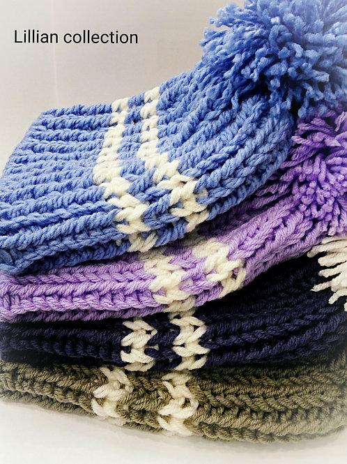 雙色橫紋毛毛球男女冷帽