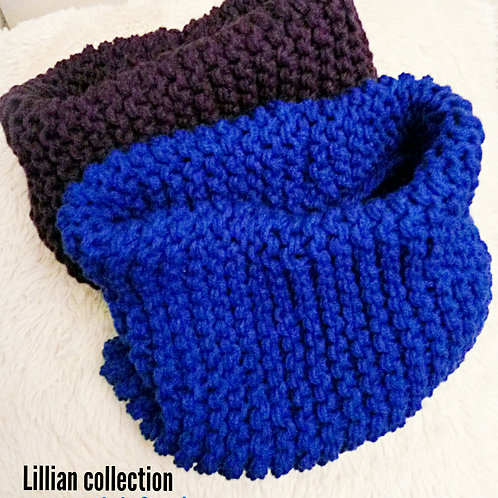 Solid color warmth knitted cowl scarf