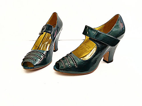 Victoria dark green swarovski high heel shoes