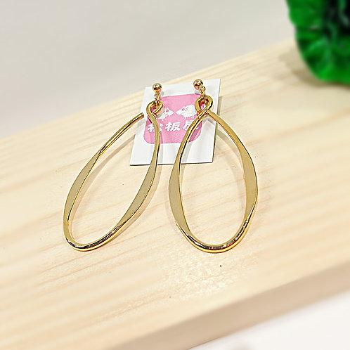欖型電鍍金吊耳環