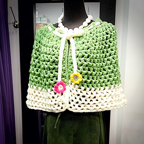 Colorful knitted mini shawl cape