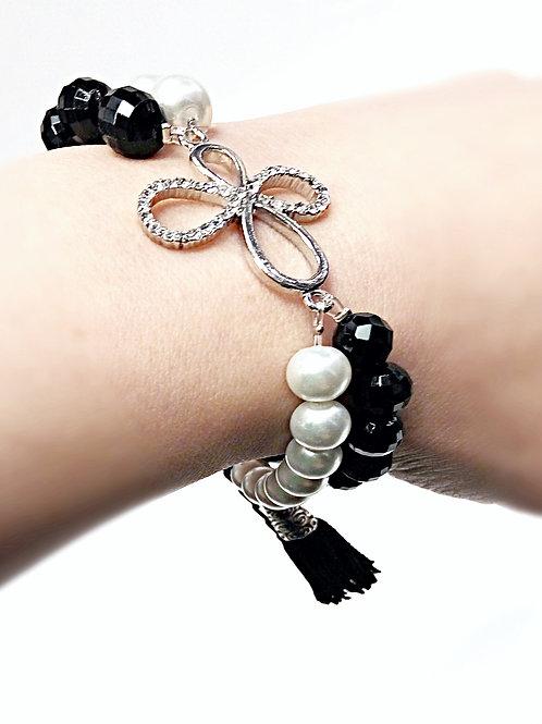 Twinkle rhinestone butterfly beaded bracelet