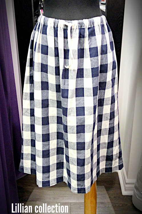 Leisure navy cream checker dress