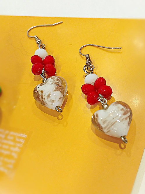 Frosted gold white glass heart red crystal earring