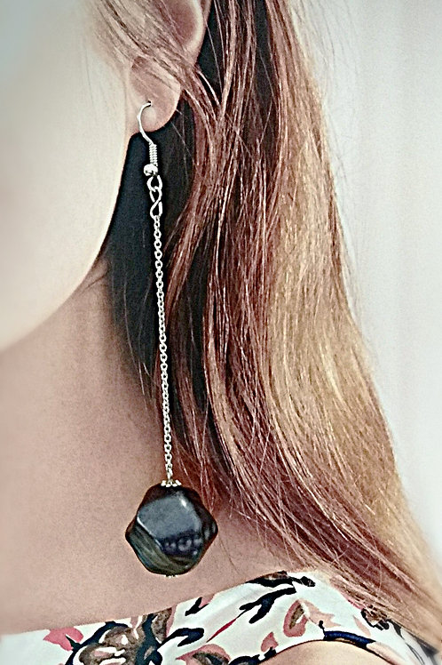 Irregular purple long length drop earring