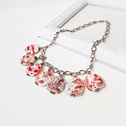 Heavy red pattern stones stainless steel choker