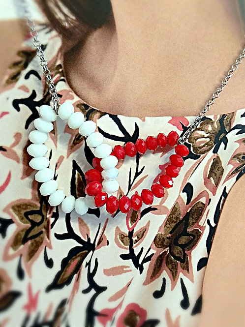 Bling bling red white crystal loop necklace