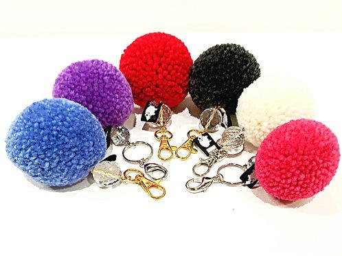 超大彩色毛毛冷球水晶珠匙扣