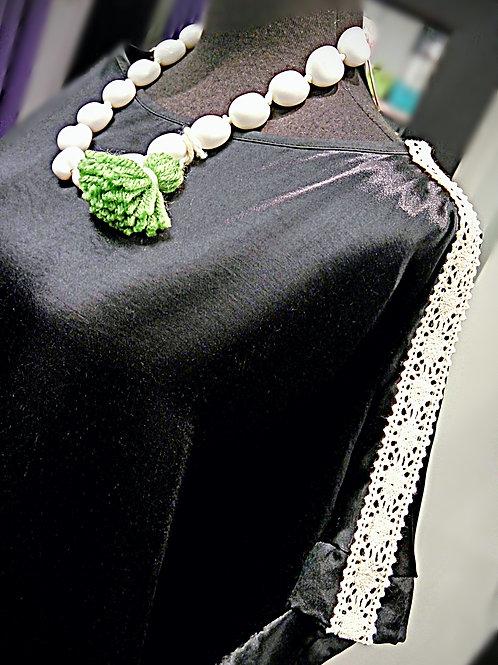 Stylish black satin cream embroidered straps blouse