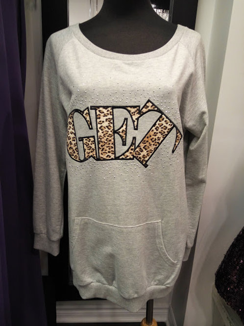 Cotton grey letter printed long sleeves top