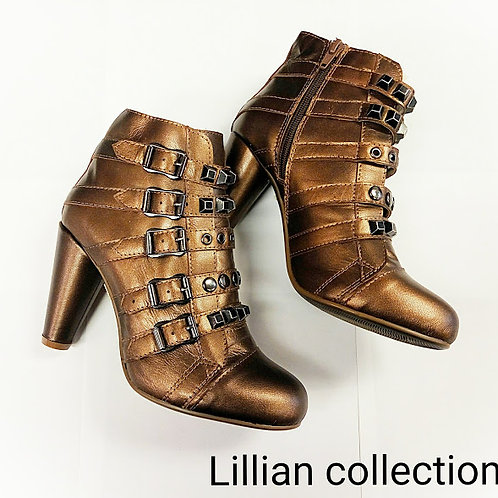 Bronze high heel leather shoes