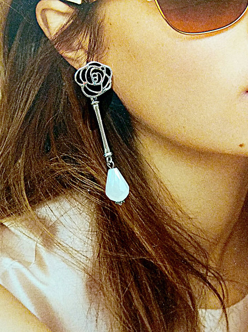 Blossom black flower milk white crystal earrings
