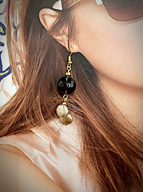 Shinny black beaded champaign earrings