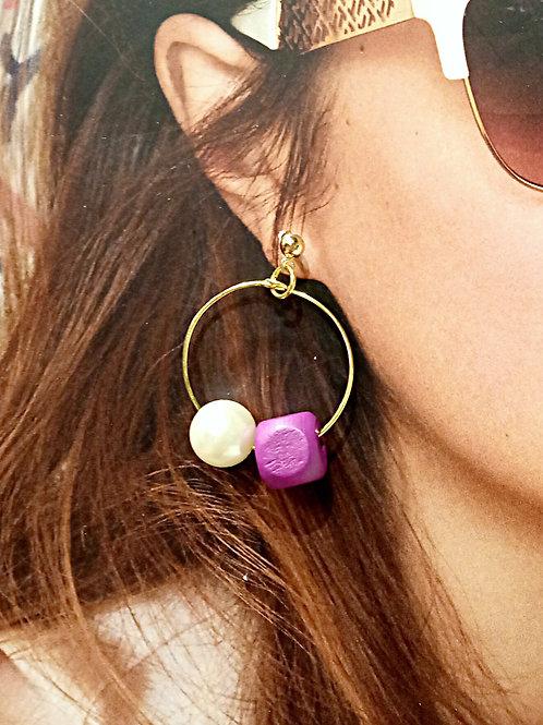 Loop faux pearl cubic purple wooden beaded earrings