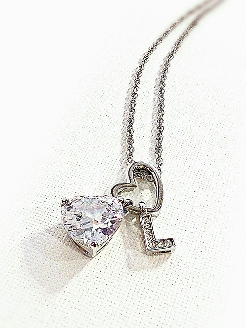 Big crystal letter heart chain necklace
