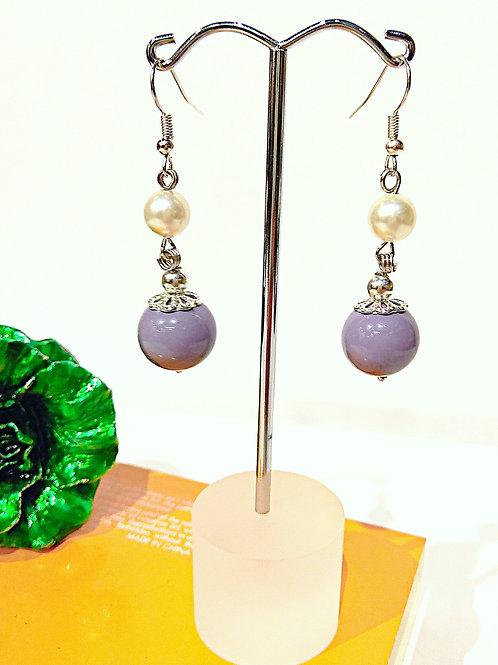 Girly purple ceramic faux pearl earrings