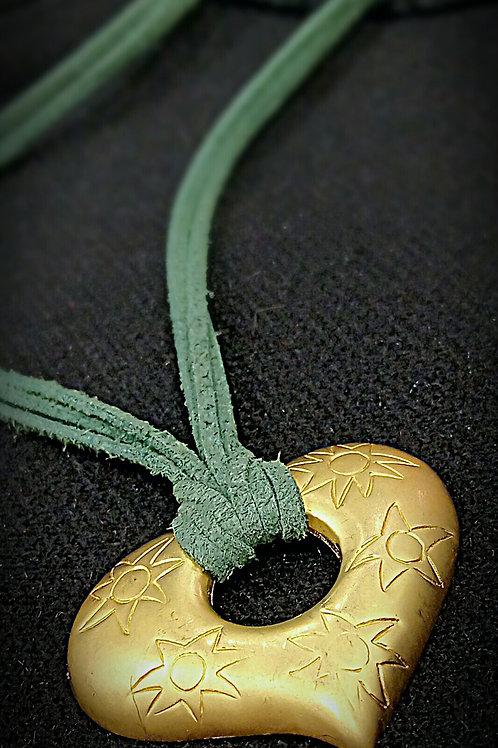 心型鍍金刻花紋惊皮繩