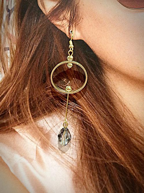Plated gold loop olive crystal beaded earrings