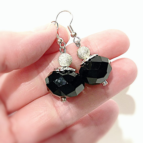 Frosted silver balls black crystal element earrings