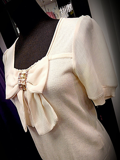 Soften beige chiffon knitted blouse