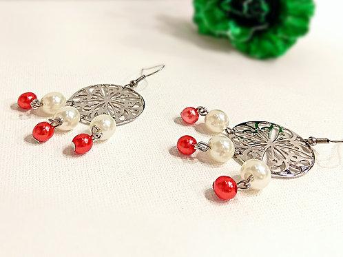 Stylish big metal faux pearl drop earrings
