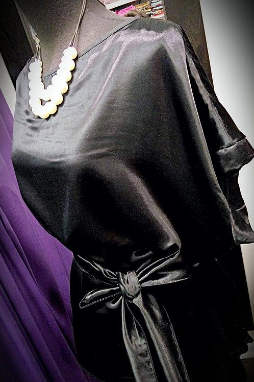 Black satin loop loose blouse