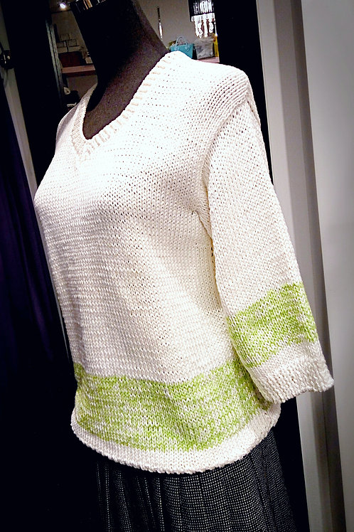 Cotton light green cream knitted sweater