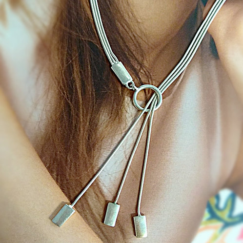 Simple stainless steel long necklace