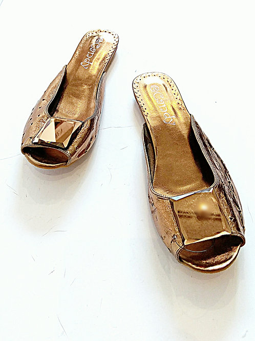 Metallic copper PVC sandals