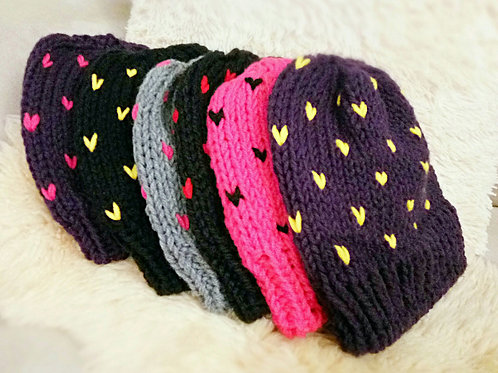 Different color knitted pow pow hat