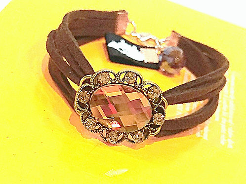 Big yellow rhinestone brown suede bracelet