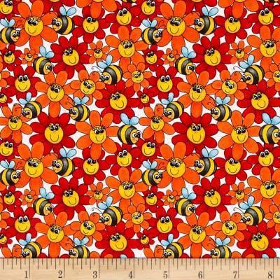 2.17 BEES/FLOWERS ORANGE/RED