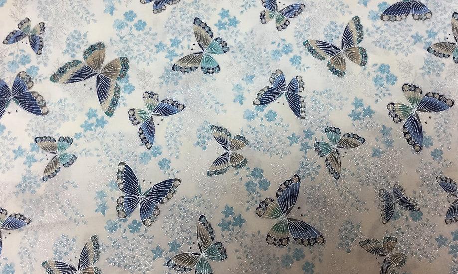 #1029-46IN Blue and Metallic Sliver Butterflies