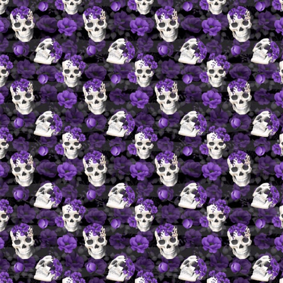 1.19-17 Skull with purple roses