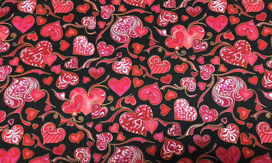 0101-17H Hearts on black