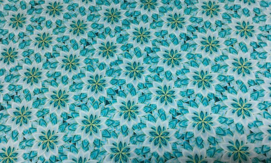 0127-03GA Blue and Green Garden, metallic
