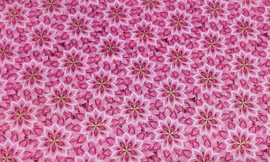 0127-01GA Pink flowers, metallic