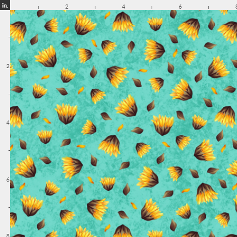 Sunflower Blooms, turquoise