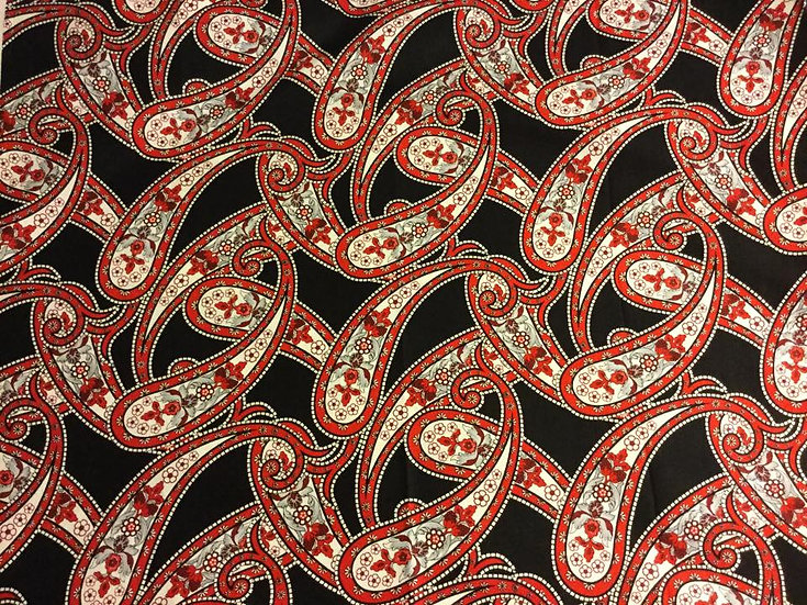 PA0915-25 Red and Black Paisley