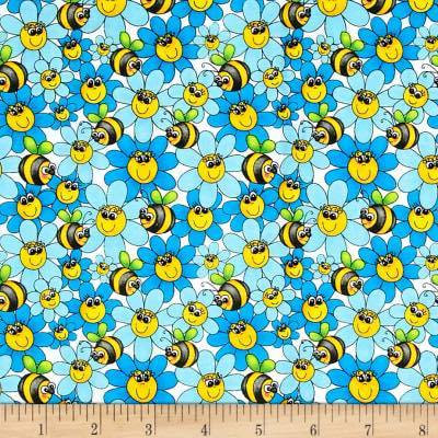 2.18 BEES/FLOWER BLUE/GREEN