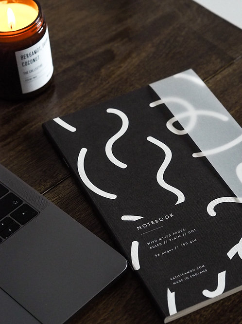 Black & White Squiggle Notebook