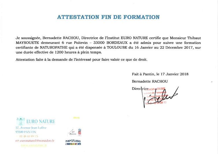 ATTESTATION FIN DE FORMATION NATUROPATHI