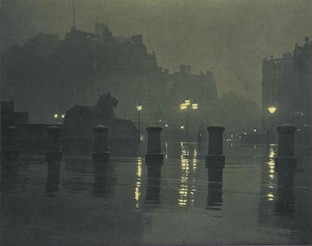 Trafalgar Square on a Very Wet Night