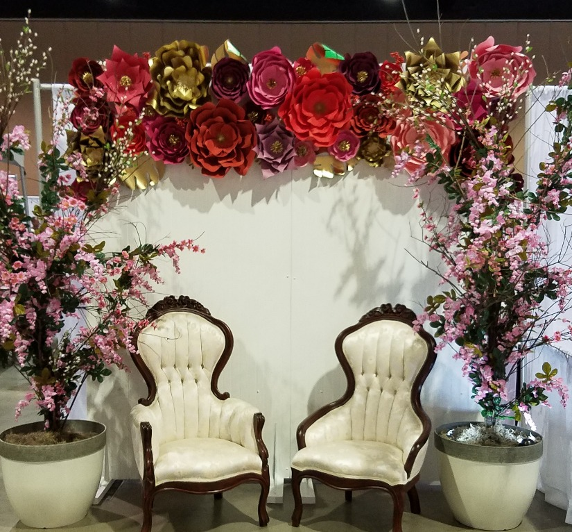 White Panel Backdrop with Flowers